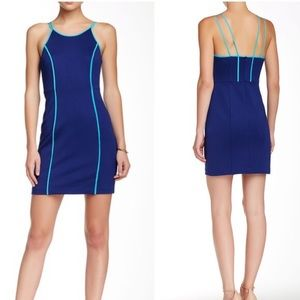 Trina Turk Yvette Spaghetti Strap Blue Silk Dress